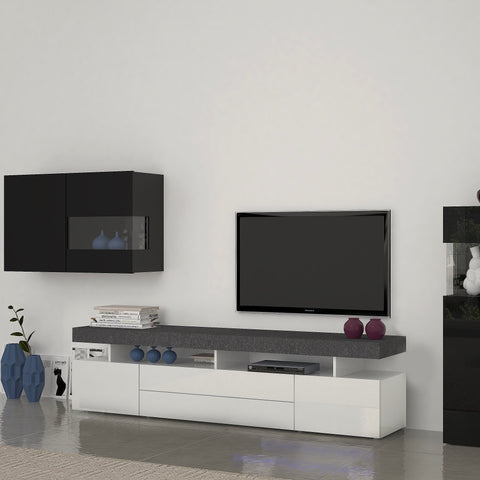 TREVISO 78-inch 2 Cabinet 2 Drawer High Gloss TV Stand for TVs up to 88""