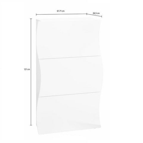 Onda White Gloss 3 Doors Shoe Cabinet