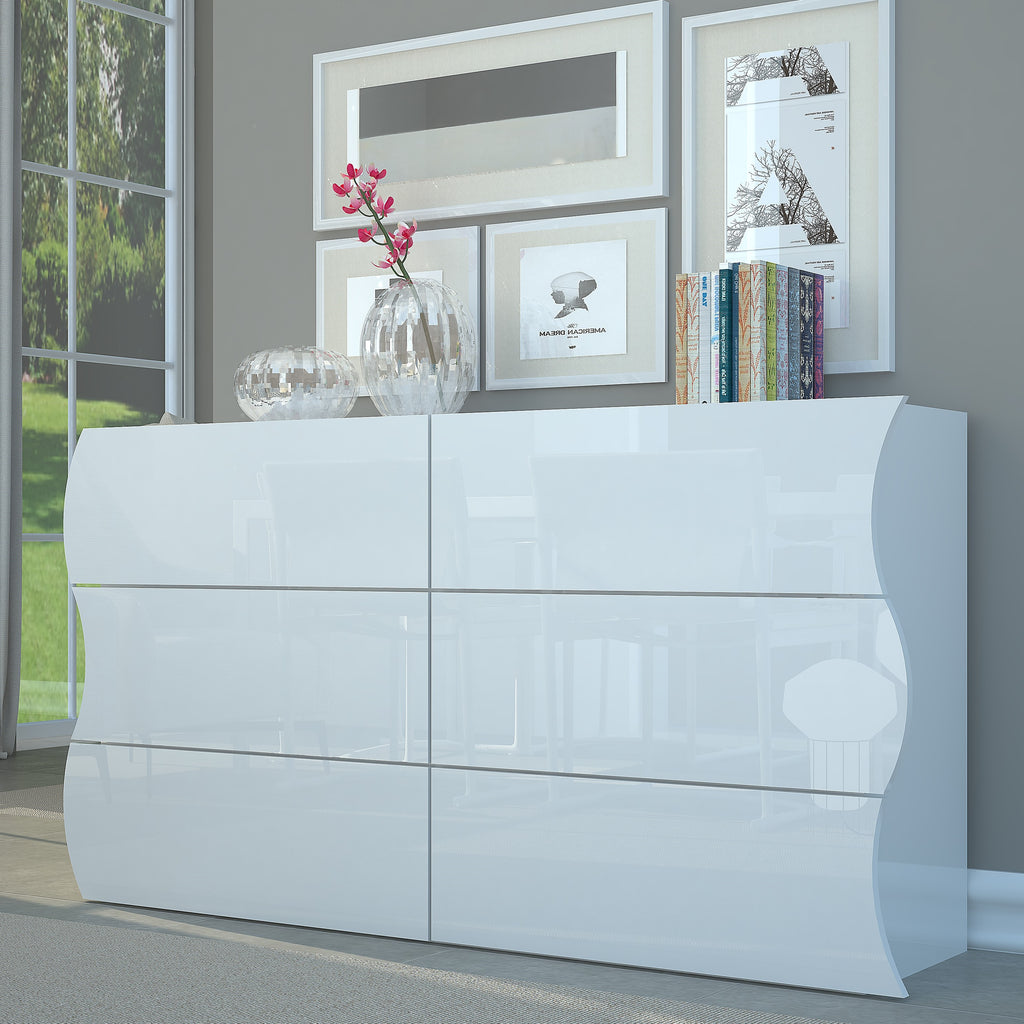 Onda High Gloss 6 Drawers Dresser - Furniture.Agency