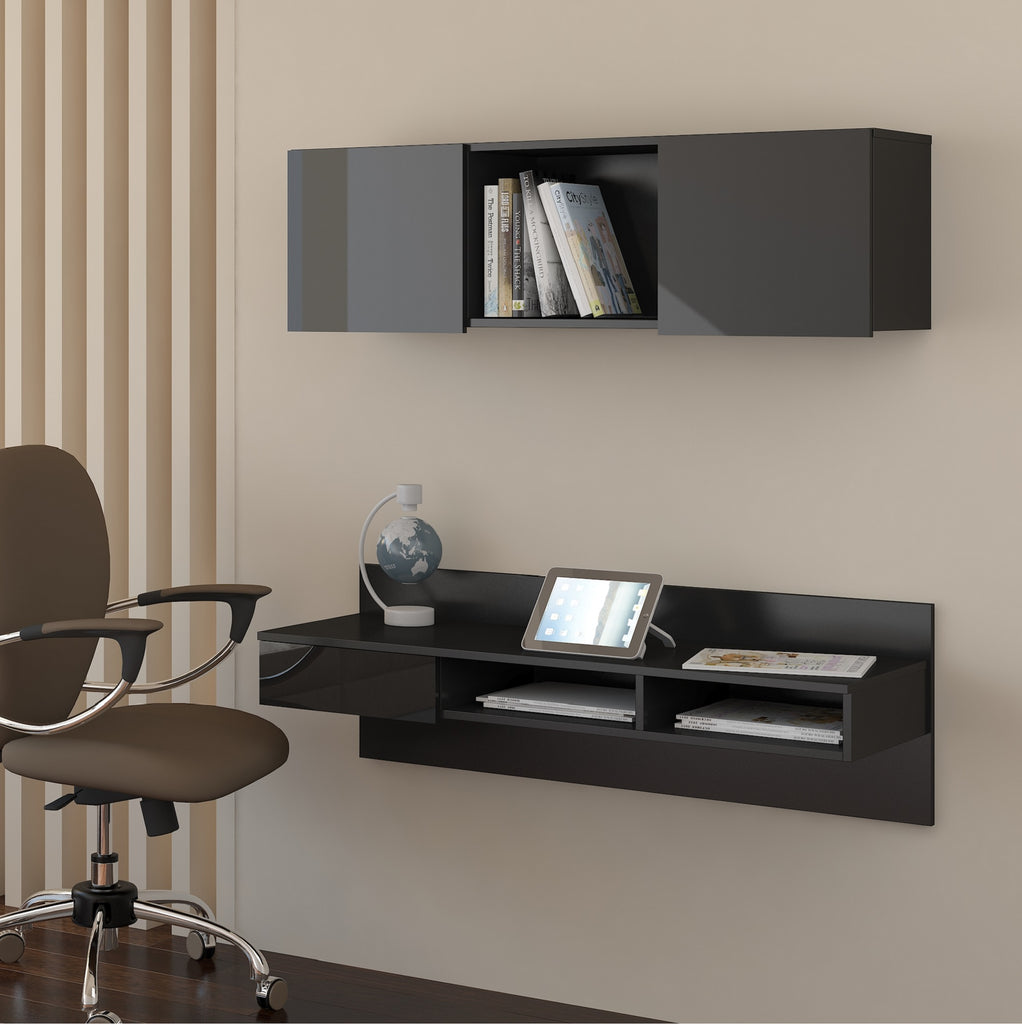 Uno Wall-Mounted Floating Home Office Set, Multiple Finishes - Furniture.Agency