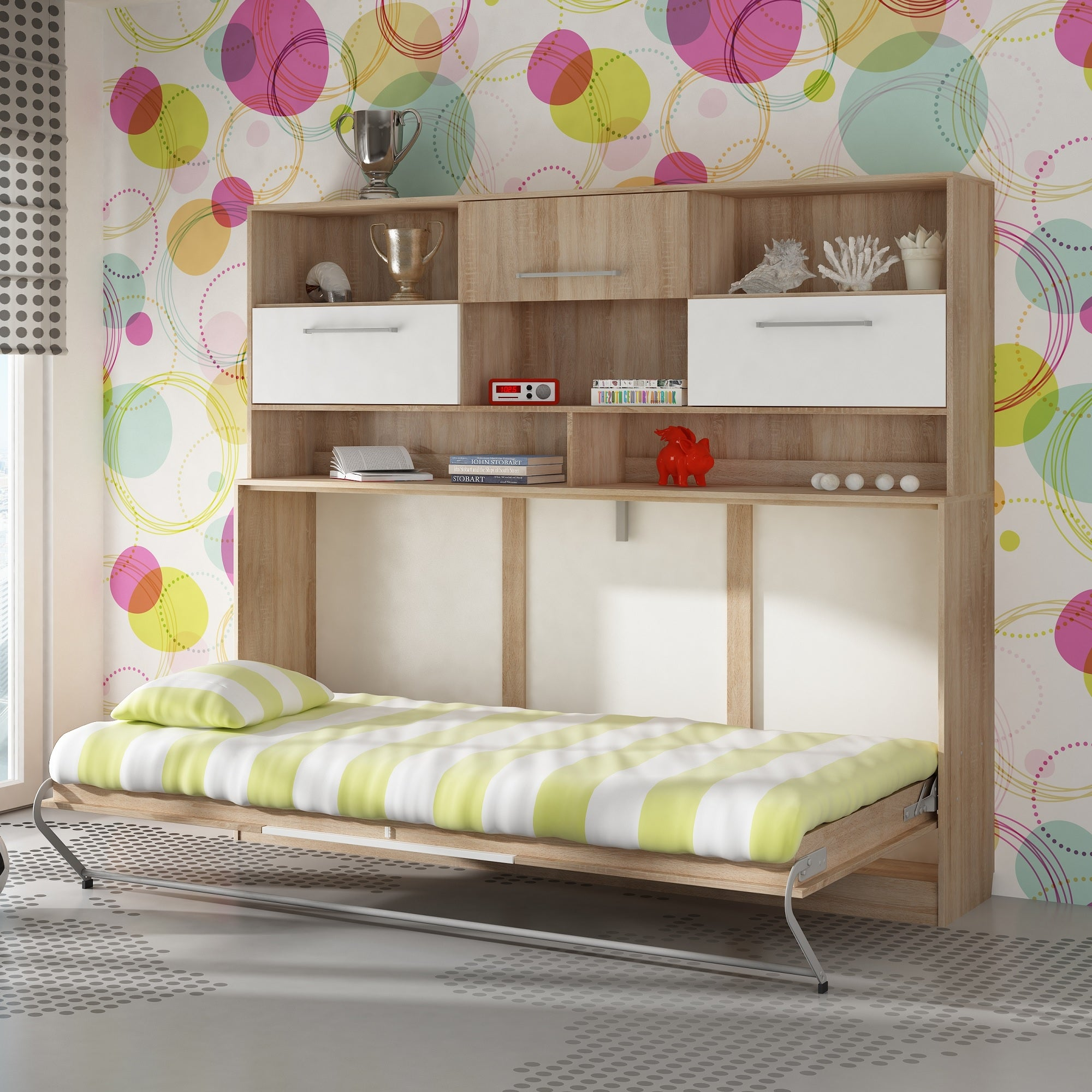 Roger European Single Kids Murphy Bed With Storage