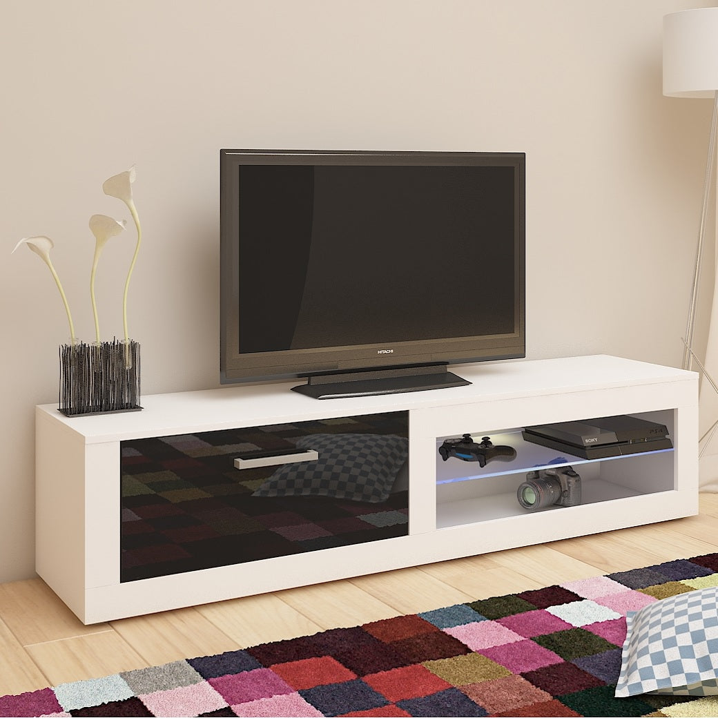 Viki High Gloss TV Stand With LED, Multiple Finishes