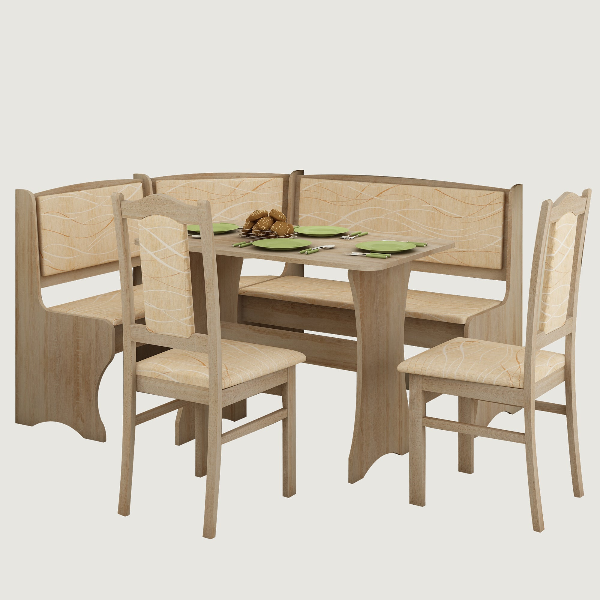 Breakfast Nook 4-Piece Corner Dining Set, Multiple Finishes ...