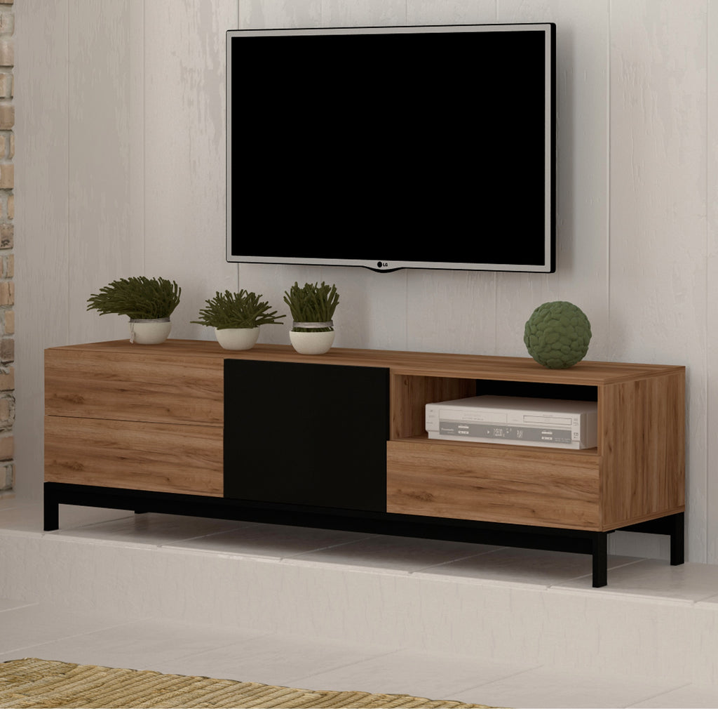 "Metis Large Walnut&Black Gloss TV Stand, for TVs up to 75"" - Furniture.Agency"
