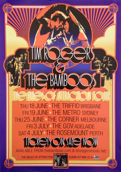 Tim Rogers & The Bamboos - The Rules Of Attraction Tour Poster