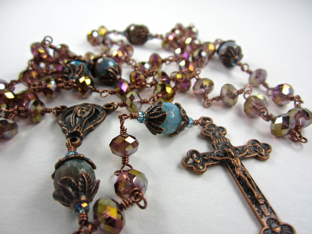 This Unique Rosary Features An Antique Copper Crucifix And Virgin Mary Center