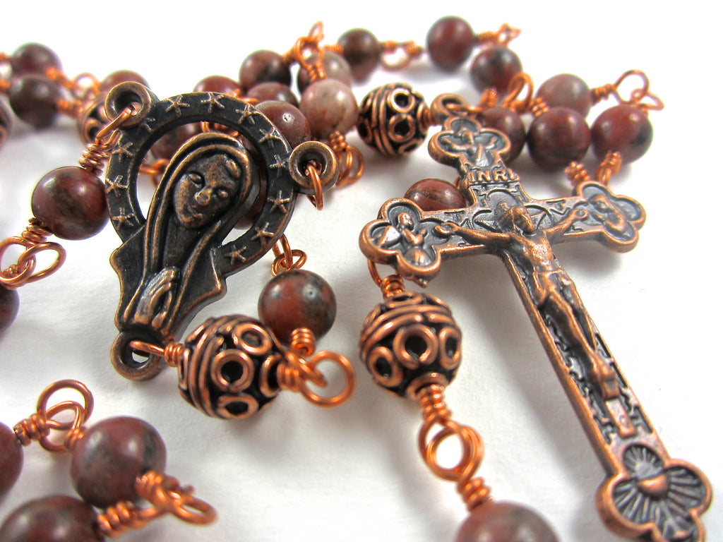 This Unbreakable Rosary Has A 1 3 4 Inch Antique Copper Plated Crucifix And