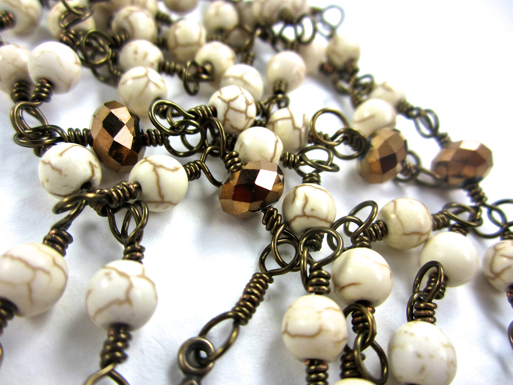 Round 6mm Cream Colored Howlite Beads Are The Hail Mary While Our Father