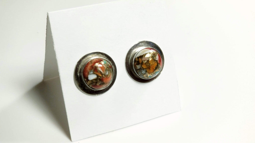 Color Clash Stud Earrings (Copper Orange)
