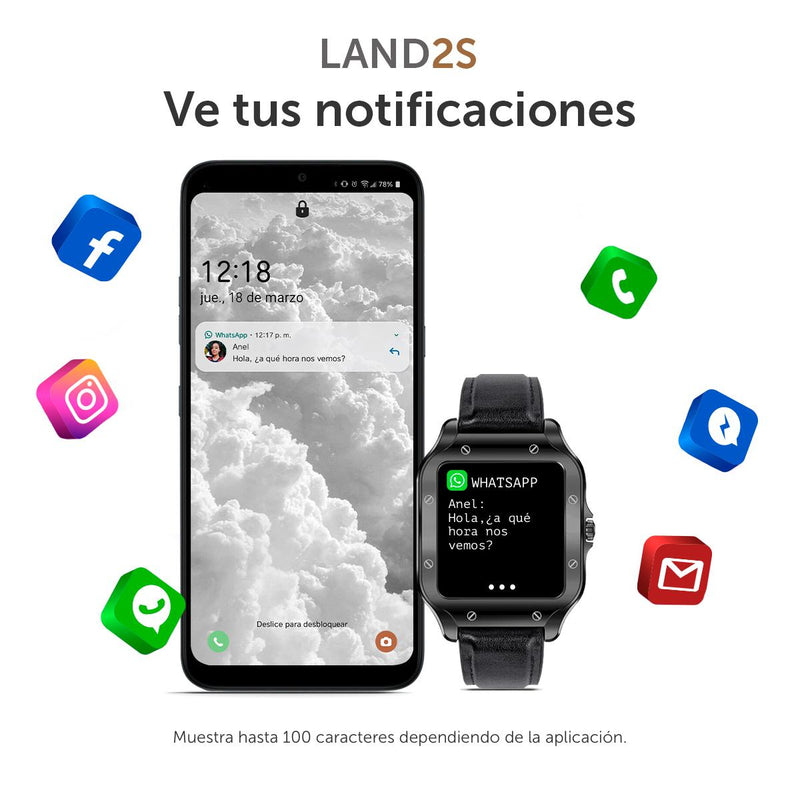 Smartwatch BINDEN LAND2S Notificaciones, para iOS y Android