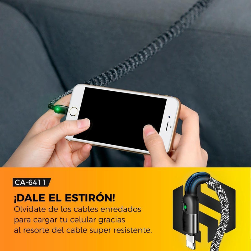 Cable Con Resorte Binden iPhone Automóvil Carga Rápida 1.8m