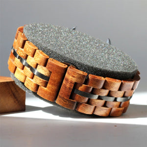 22mm - Pono Woodworks Koa Solid Wood iWatch, Gunmetal Band Stringer