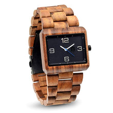 Pono Woodworks Koa Solid Wood Watch, Square Black Face