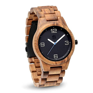 Pono Woodworks Koa Solid Wood Watch, Round Black Face