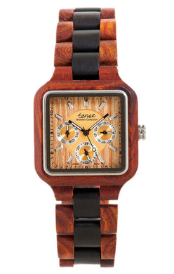 Tense B7305RD Summit Square Multi-Function Wooden Watch