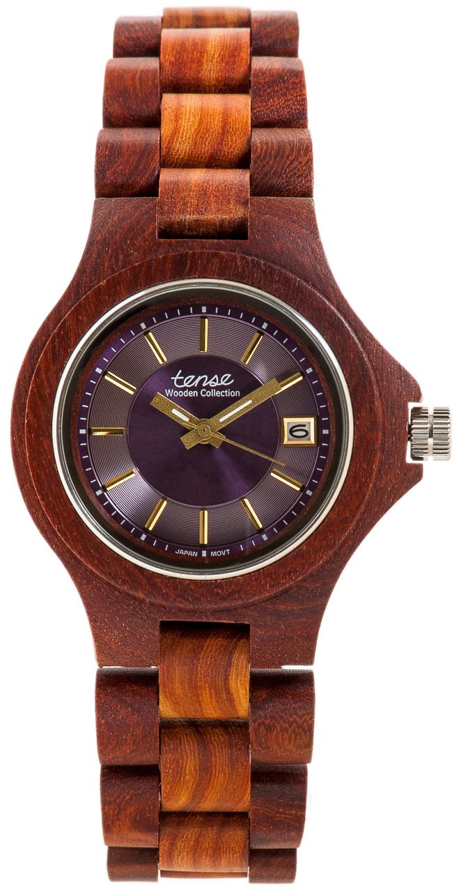 Tense Metro G4302Z-B Men's Wooden Watch w/ Calendar