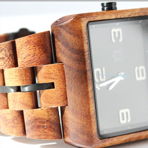 Pono Woodworks Koa Solid Wood Watch, Square Face, Gunmetal Band Stringer
