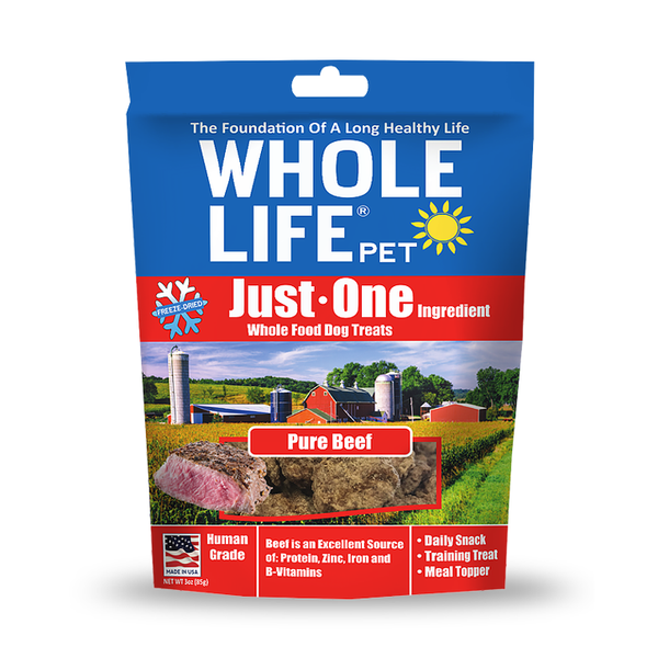 Whole Life Pet Just One Ingredient Pure Beef Freeze-Dried Dog Treats, 3oz Bag