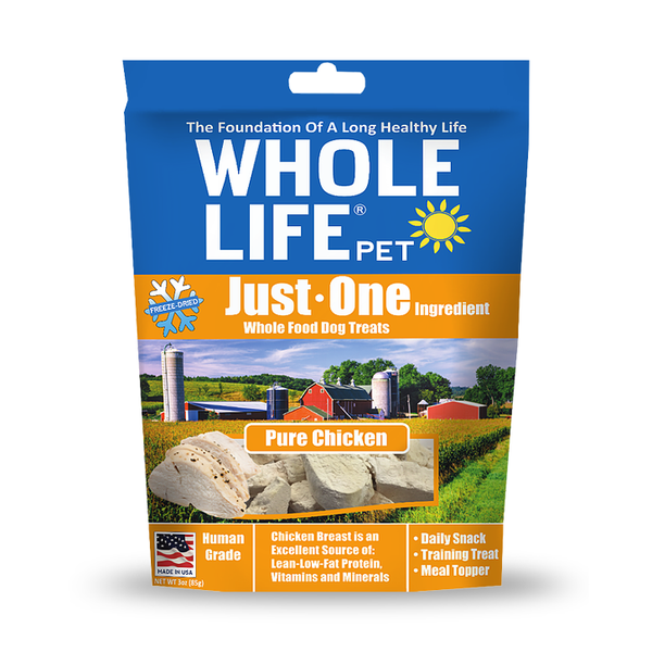 Whole Life Pet Just One Ingredient Pure Chicken Breast Freeze-Dried Dog Treats, 3oz Bag