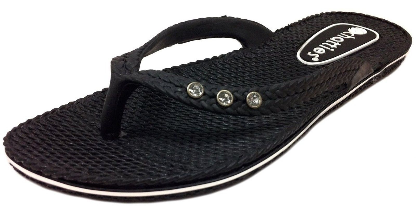 72 Pairs  Ladies Solid Black Comfort Flip Flop with Rhinestones