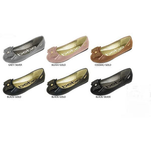Wholesale Girl's Ballet Flats with Rhinestone & Stud Bow (1 Case)