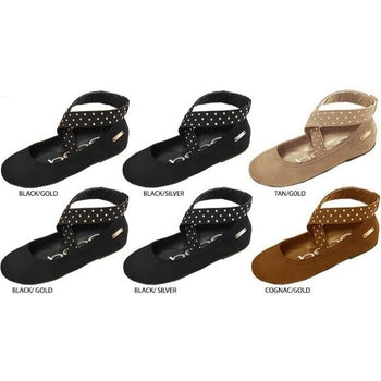 Wholesale Girl's Microsuede Ballet Flats with Studded Elastic (1 Case)