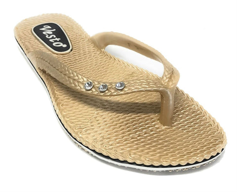 36 Pairs Vesto Ladies Gold Metallic Comfort Flip Flop with Rhinestones