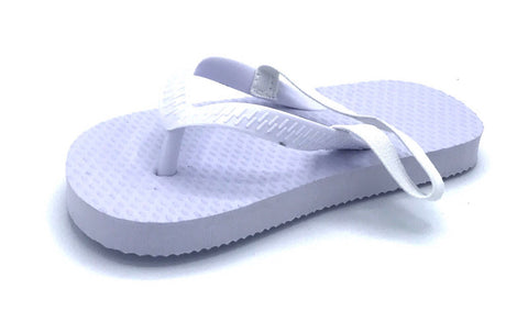 b4facb5fb7131 72 Pairs Toddler White Flip Flops with Back Strap