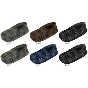 Wholesale Zac & Evan Boy's Plaid Moccasin Slippers with Faux Fur Lining (1 Case)