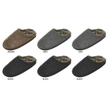 Wholesale Boy's Houndstooth Slippers with Faux Fur Lining (1 Case)