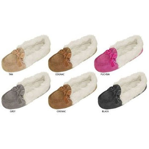 Wholesale Girl's Microsuede Moccasin Slippers with Faux Fur Cuff (1 Case)