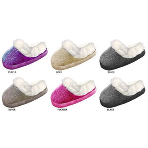 Wholesale Girl's Ribbed Glitter Mesh Slippers with Faux Fur Cuff (1 Case)
