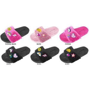 Wholesale Girl's Faux Fur Slides with Emoji Embroidery (1 Case)