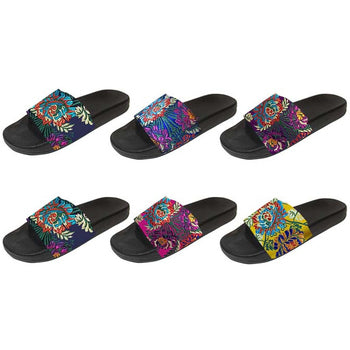 Wholesale Women's Jacquard Printed Slide Sandal (1 Case)