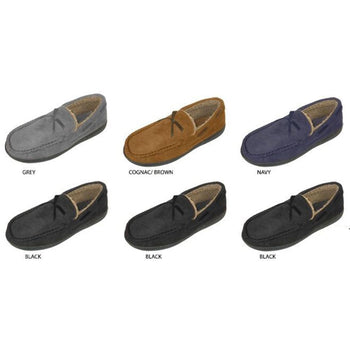 Wholesale Men's Microsuede Moccasin Slippers (1 Case)