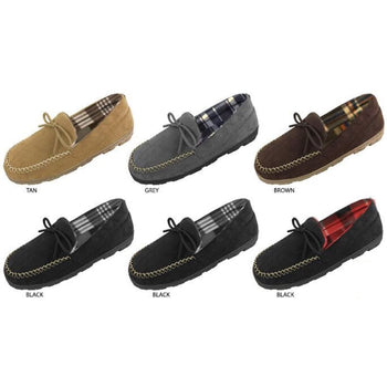 Wholesale Men's Microsuede Moccasin Slippers with Plaid Fleece Lining (1 Case)