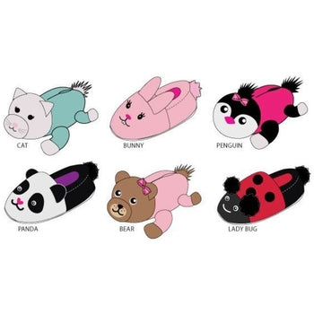 Wholesale Toddler Girl's Plush Animal Slippers (1 Case)