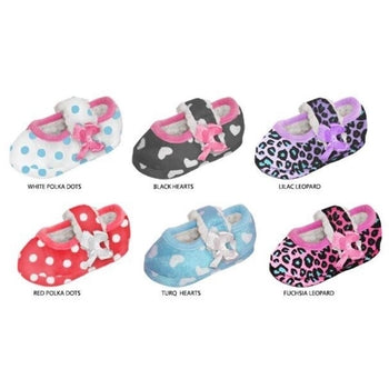 Wholesale Toddler Girl's Fleece Maryjane Print Slippers with Sherpa Lining (1 Case)
