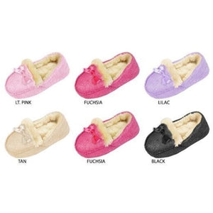 Wholesale Toddler Girl's Shimmery Moccasin with Faux Fur Lining (1 Case)