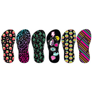 Wholesale Girl's Nubuck Print Flip Flops with Rhinestone Embellishments (1 Case)