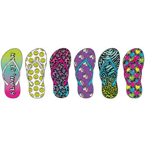 Wholesale Girl's Assorted Icon Print Flip Flops (1 Case)