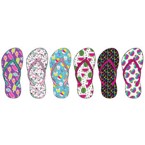 Wholesale Girl's Assorted Print Flip Flops (1 Case)