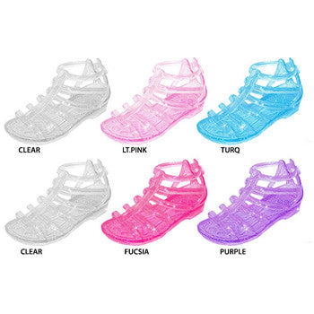 Wholesale Girl's Glitter Jelly Gladiator Sandals (1 Case)