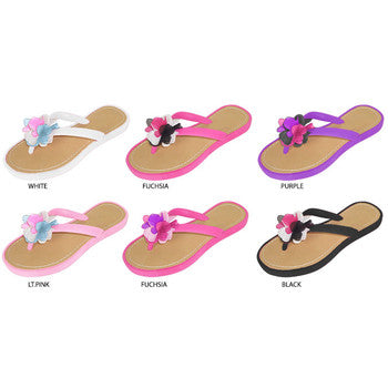 Wholesale Girl's Thong Sandals with Chiffon Flower (1 Case)
