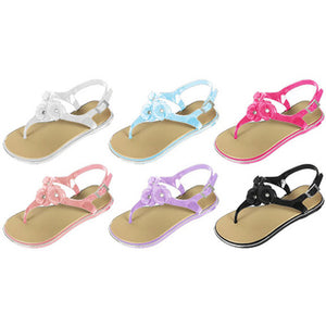 Wholesale Girl's Flip Flops with Flower & Rhinestone Studs (1 Case)