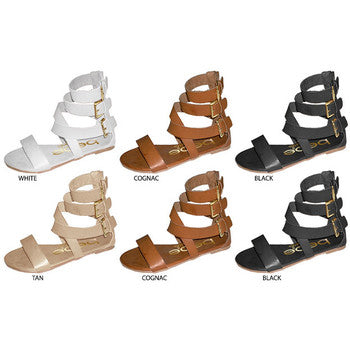 Wholesale Girl's Gladiator Sandal with Triple Buckles (1 Case)
