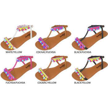 Wholesale Girl's Pom Pom Sandals (1 Case)