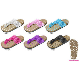 Wholesale Girl's Footbed Sandal with Flowers (1 Case)
