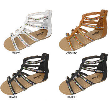 Wholesale Girl's Embellished Gladiator Sandals (1 Case)