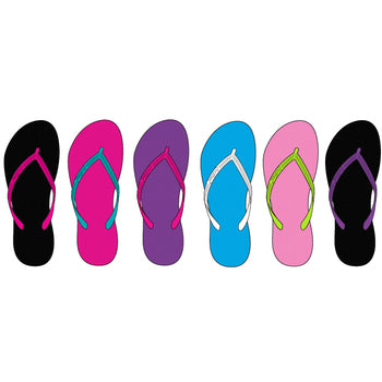 Wholesale Women's Basic Contrast Color Flip Flops (1 Case)